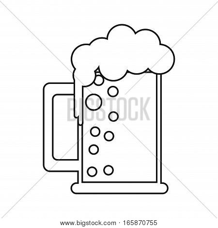 saint patrick day mug of beer foam bubbles cold outline vector illustration