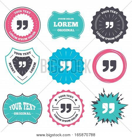 Label and badge templates. Quote sign icon. Quotation mark symbol. Double quotes at the end of words. Retro style banners, emblems. Vector