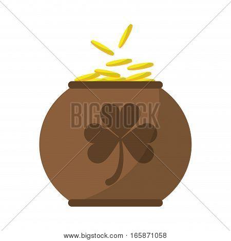 brown pot full coins shamrock decoration celebration st patrick day vector illustration eps 10