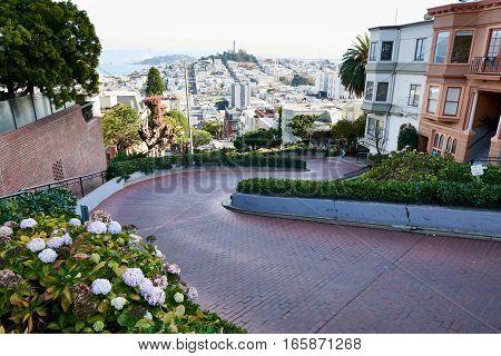 Scenic Lombard street view in San Francisco