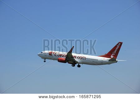 Amsterdam The Netherlands - June 12 2015: TC-TJI Corendon Airlines Boeing 737-800 takes off at Amsterdam Airport Schiphol Polderbaan runway. Corendon Dutch Airlines is a Dutch charter airline founded in 2000.