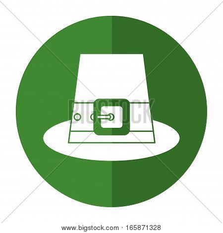 green saint patrick day top hat with buckle shadow vector illustration eps 10