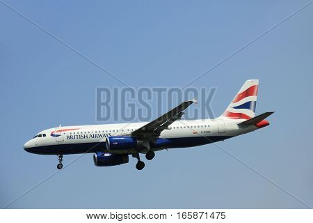 G-EUUB British Airways Airbus A320 takes of from Amsterdam Airport Polderbaan runway. British Airways often shortened to BA is the flag carrier airline of the United Kingdom.