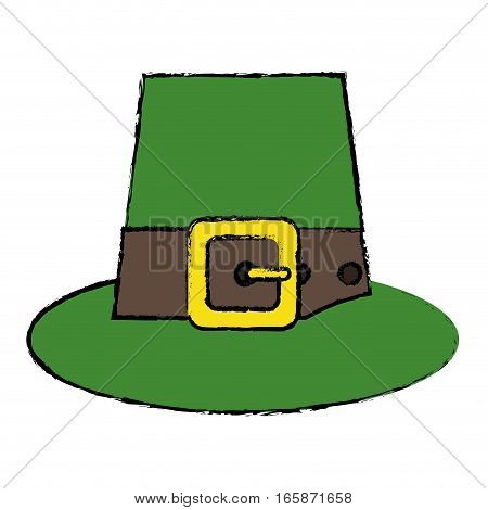 cartoon green saint patrick day top hat with buckle vector illustration eps 10