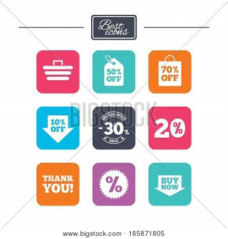 Sale discounts icon. Shopping cart, coupon and buy now signs. 20, 30 and 50 percent off. Special offer symbols. Colorful flat square buttons with icons. Vector