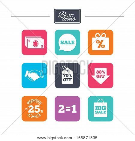 Sale discounts icon. Shopping, handshake and cash money signs. 25, 70 and 80 percent off. Special offer symbols. Colorful flat square buttons with icons. Vector