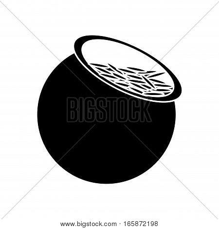 silhouette saint patrick day pot full coins treasure vector illustration eps 10