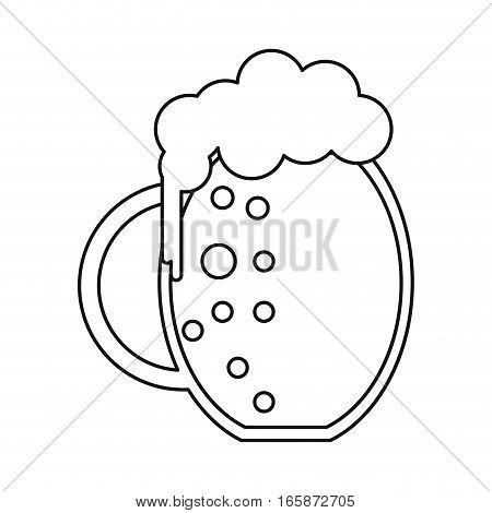st patrick day jar beer foam cold outline vector illustration eps 10