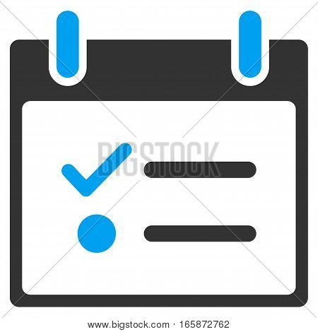 Todo List Calendar Day vector toolbar icon. Style is bicolor flat icon symbol blue and gray colors white background.