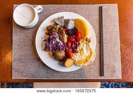 healthy breakfast in hotel on table .