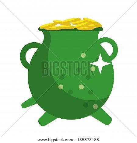 st patrick day green pot golden coins shiny vector illustration eps 10
