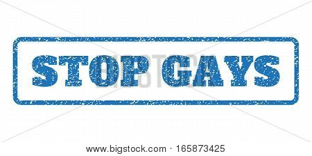 Blue rubber seal stamp with Stop Gays text. Vector caption inside rounded rectangular frame. Grunge design and dust texture for watermark labels. Horizontal sticker on a white background.