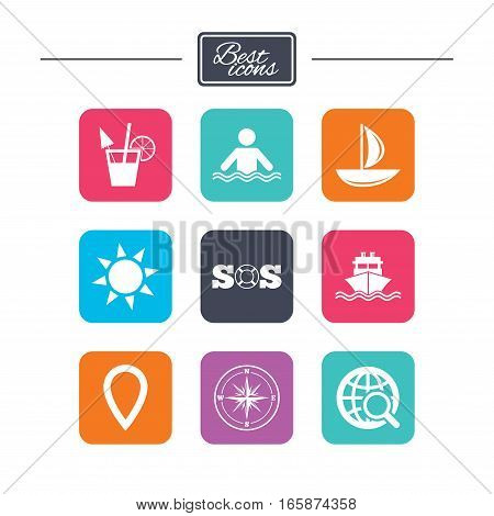 Cruise trip, ship and yacht icons. Travel, cocktail and sun signs. Sos, windrose compass and swimming symbols. Colorful flat square buttons with icons. Vector