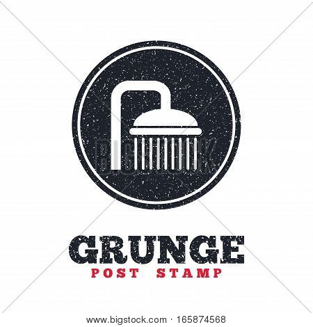 Grunge post stamp. Circle banner or label. Shower sign icon. Douche with water drops symbol. Dirty textured web button. Vector