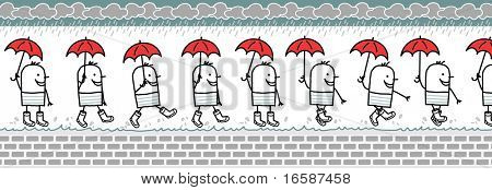man with umbrella & rain boots -walking cartoon character for animated sprite