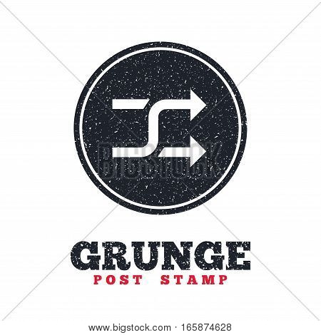Grunge post stamp. Circle banner or label. Shuffle sign icon. Random symbol. Dirty textured web button. Vector