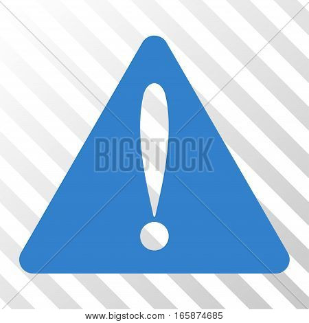 Cobalt Warning Error interface toolbar pictogram. Vector pictograph style is a flat symbol on diagonal hatch transparent background.