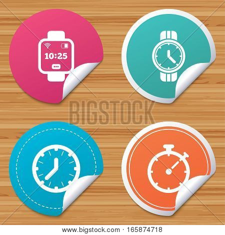 Round stickers or website banners. Smart watch icons. Mechanical clock time, Stopwatch timer symbols. Wrist digital watch sign. Circle badges with bended corner. Vector