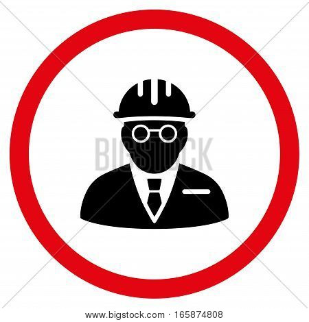 Blind Engineer vector bicolor rounded icon. Image style is a flat icon symbol inside a circle intensive red and black colors white background.