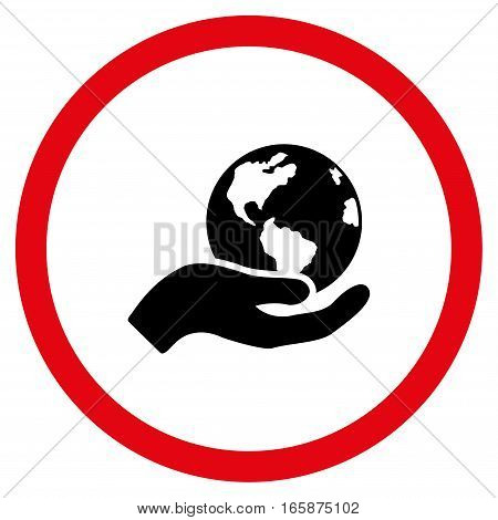 Earth Care vector bicolor rounded icon. Image style is a flat icon symbol inside a circle intensive red and black colors white background.
