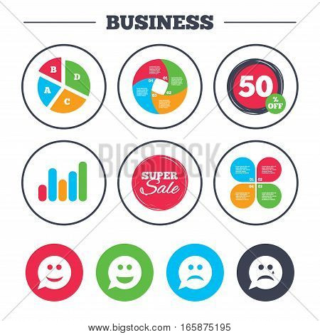 Business pie chart. Growth graph. Speech bubble smile face icons. Happy, sad, cry signs. Happy smiley chat symbol. Sadness depression and crying signs. Super sale and discount buttons. Vector