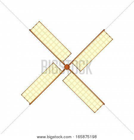 Wooden windmill in retro design on white background