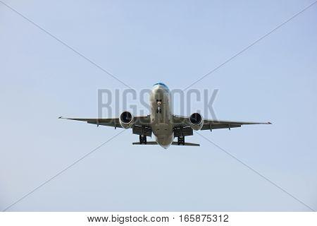 Amsterdam Schiphol Airport - April 1st 2016: HL8285 Korean Air Lines Boeing 777 approaching Polderbaan runway arriving from Seoul Korea