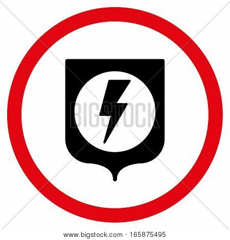 Electric Protection vector bicolor rounded icon. Image style is a flat icon symbol inside a circle intensive red and black colors white background.