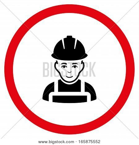 Glad Worker vector bicolor rounded icon. Image style is a flat icon symbol inside a circle intensive red and black colors white background.