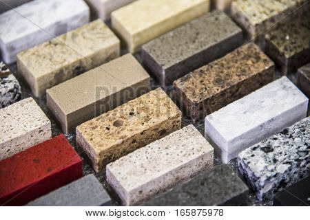 Kitchen granite counters color samples lined up