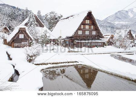 World Heritage Site Shirakawago village with snow in winter