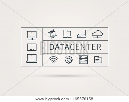 Data center vector concept. Analysis infrastructure for server room with devices and elements. Data center system for hosting technology and network infrastructure. Linear illustration.