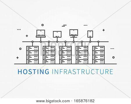 Hosting infrastructure connecting with server system. Analysis infrastructure for server room with different devices and elements. Data center system. Vector illustration linear concept.