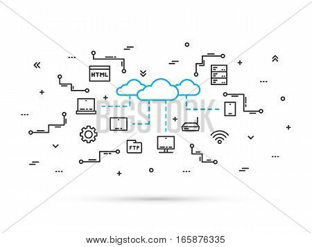 Cloud storage technology line vector illustration. Network communication between digital devices concept. Cloud data infrastructure line art design. Server workstation equipment technology.