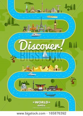 Discover the world poster with famous world attractions along winding river vector illustration. Travel design with european, asian and american architecture. Worldwide traveling, time to travel