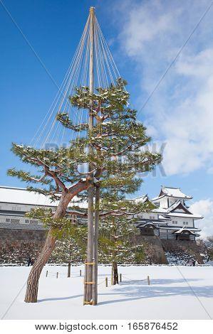 Kanazawa Castle Park with snow in winter season