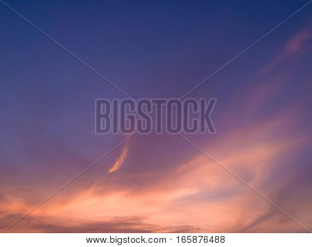 Sky And Clouds in day time. Sky background.Fantastic dreamy sunrise bright blue skies and colorful clouds landscape at sunrise.