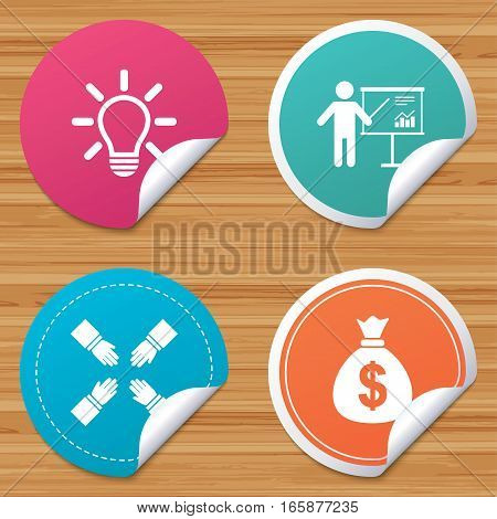 Round stickers or website banners. Presentation billboard icon. Dollar cash money and lamp idea signs. Man standing with pointer. Teamwork symbol. Circle badges with bended corner. Vector