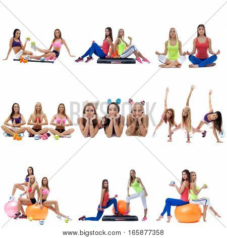 Set collection of sporty women in sportswear exerxicing on white isolated background with special equipment - stepper, dumbbells and fitness ball