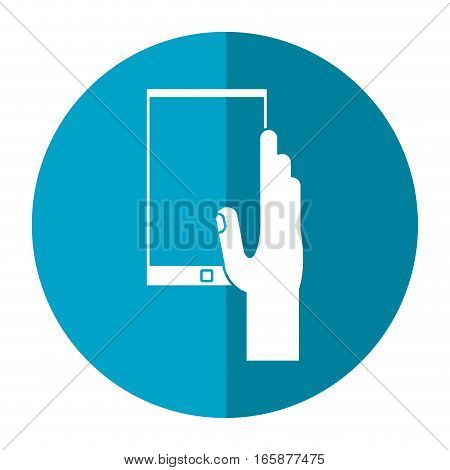 hand hold smartphone play music shadow vector illustration eps 10