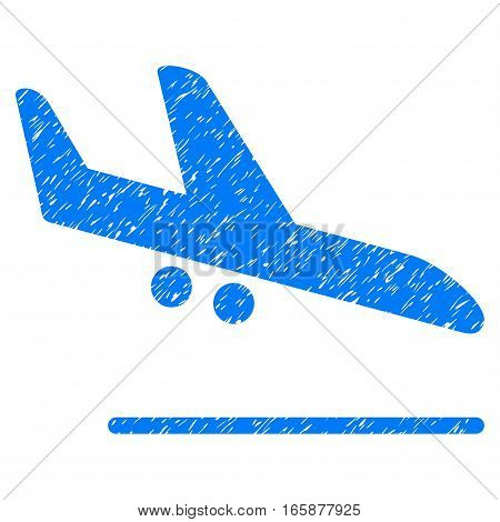 Aiplane Landing grainy textured icon for overlay watermark stamps. Flat symbol with dirty texture. Dotted vector blue ink rubber seal stamp with grunge design on a white background.
