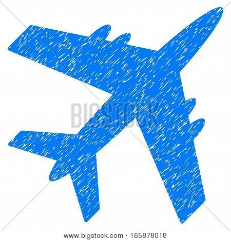 Aircraft grainy textured icon for overlay watermark stamps. Flat symbol with dirty texture. Dotted vector blue ink rubber seal stamp with grunge design on a white background.