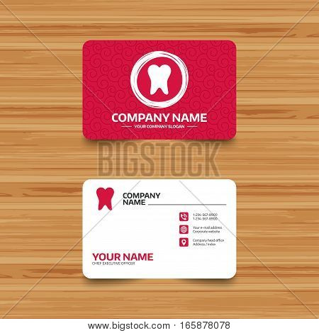 Business card template with texture. Tooth sign icon. Dental care symbol. Phone, web and location icons. Visiting card  Vector