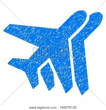 Airlines grainy textured icon for overlay watermark stamps. Flat symbol with unclean texture. Dotted vector blue ink rubber seal stamp with grunge design on a white background.