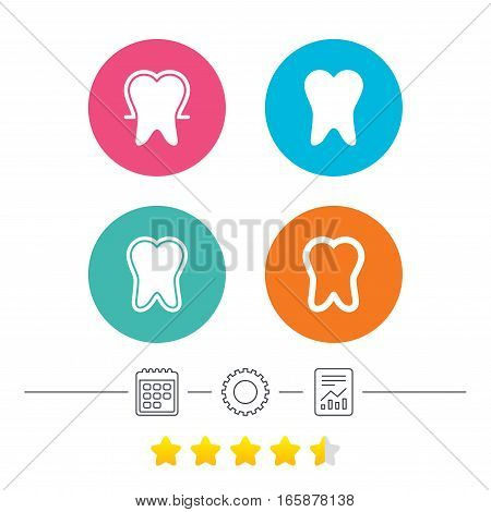 Tooth enamel protection icons. Dental toothpaste care signs. Healthy teeth sign. Calendar, cogwheel and report linear icons. Star vote ranking. Vector