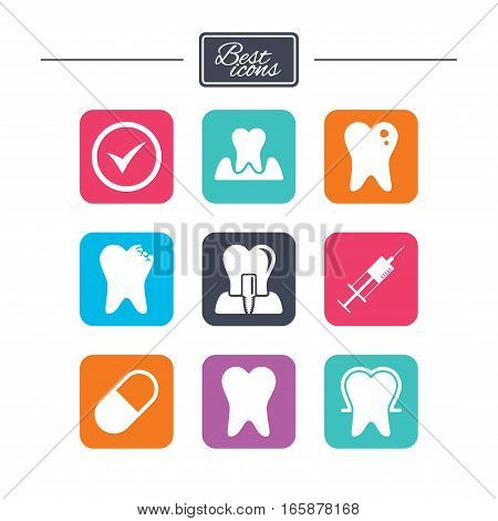 Tooth, dental care icons. Stomatology, syringe and implant signs. Healthy teeth, caries and pills symbols. Colorful flat square buttons with icons. Vector
