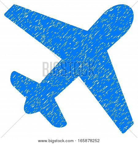 Airplane grainy textured icon for overlay watermark stamps. Flat symbol with scratched texture. Dotted vector blue ink rubber seal stamp with grunge design on a white background.