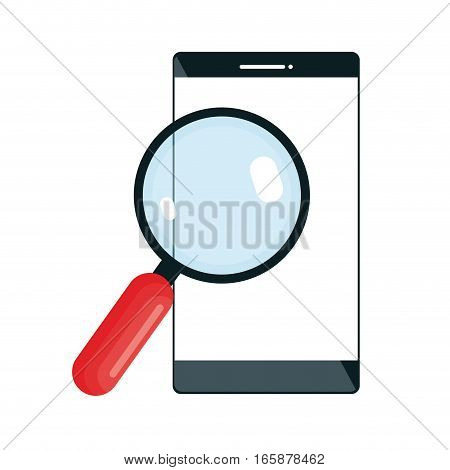 magnifying glass with smartphone isolated icon vector illustration design