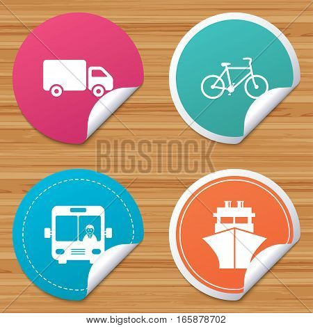 Round stickers or website banners. Transport icons. Truck, Bicycle, Public bus with driver and Ship signs. Shipping delivery symbol. Family vehicle sign. Circle badges with bended corner. Vector