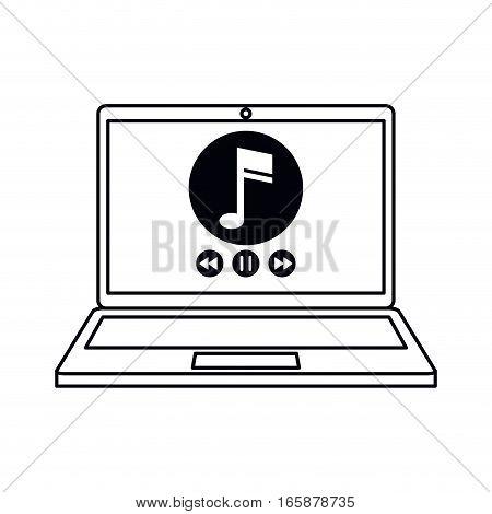 laptop music player app modern outline vector illustration eps 10